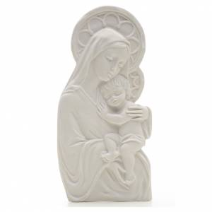 Funeral products: Our Lady with child, 14 cm bas-relief in reconstituted marble
