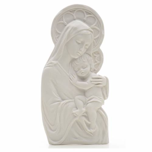 Our Lady with child, 14 cm bas-relief in reconstituted marble s1