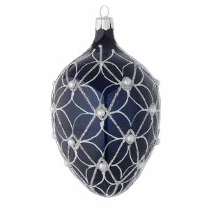 Christmas balls: Oval bauble in blue blown glass with pearls and silver decorations 100mm