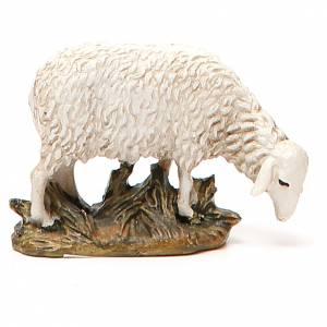 Animales para el pesebre: Oveja resina pintada cabeza baja para belén 10 cm Linea Landi