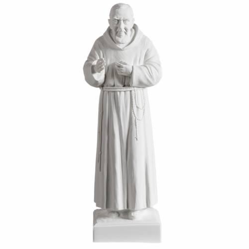 Padre Pío de mármol sintético blanco 40 cm s1
