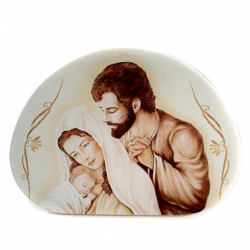 Painting Holy Family semioval shaped 8x12cm s1