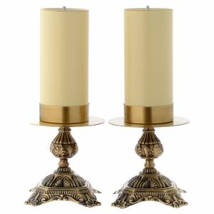Metal candle holders: Pair of altar candle holders