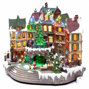 Pueblos navideños en miniatura: Paisaje navideño musical con luces 30x40x25 cm