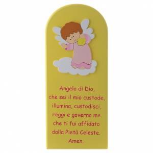 Azur Loppiano: Pala Angelo di Dio giallo Angelo rosa 30x10 cm