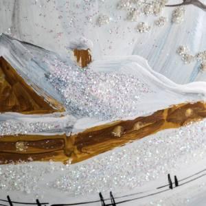 Palla albero Natale vetro paesaggio neve 15 cm s5
