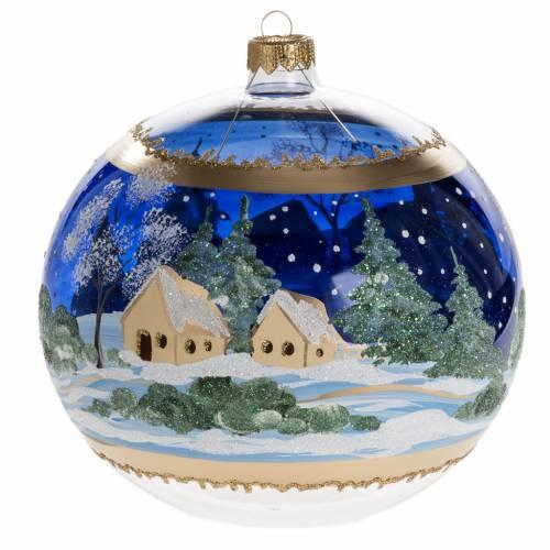 Palla albero Natale vetro paese fondo blu 15 cm s3