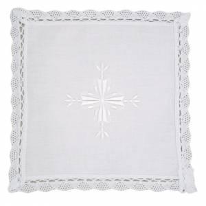 Servizi da messa e conopei: Palla lino e cotone croce ricamata 2 pz