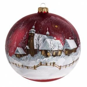 Palla Natale per albero vetro dipinto paesaggio 15 cm s1