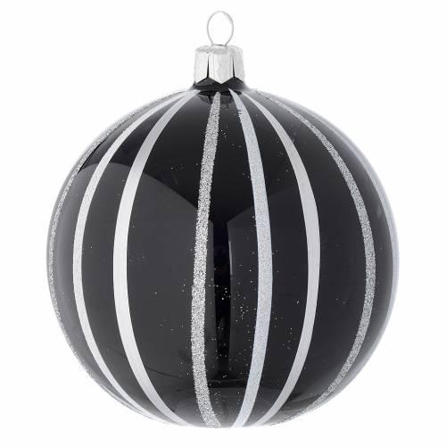 Palla Natale vetro nero righe argento 100 mm s1