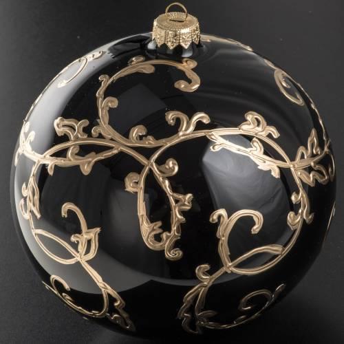 Palla Natale vetro soffiato nero decorazioni dorate 15 cm s2