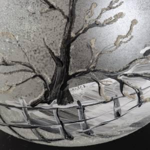 Palla Natale vetro soffiato paesaggio dipinto a mano 15 cm s4