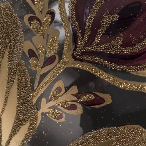 Palla Natale vetro soffiato trasparente fiore fucsia oro 15 cm s3