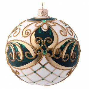 Palla natalizia 100 mm vetro soffiato verde bianco e oro s2