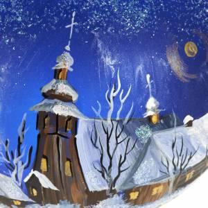 Palla per albero di Natale paesaggio notturno 10 cm s3