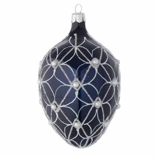 Palla uovo vetro soffiato blu e bianco 130 mm s1