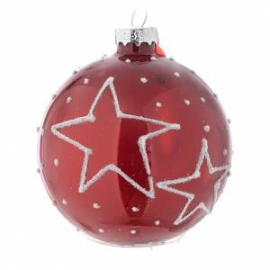 Palline di Natale: Palla vetro rossa con decori 70 mm per albero di Natale