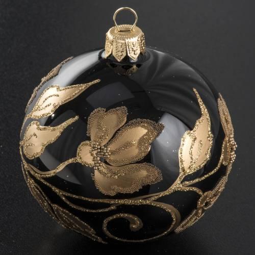 Pallina albero Natale vetro nero fiori oro 8cm s2