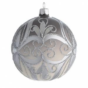 Pallina Albero Natale vetro soffiato argento 100 mm s2