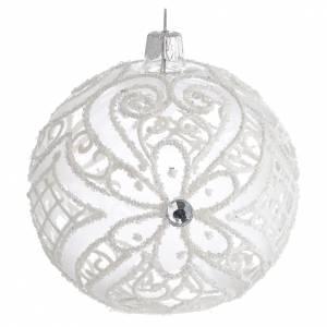 Palline di Natale: Pallina di Natale bianco opaco e trasparente 100 mm