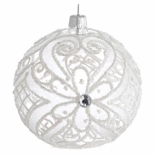 Pallina di Natale bianco opaco e trasparente 100 mm s1