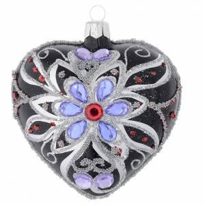 Pallina Natale forma di cuore vetro nero decoro floreale 100 mm s1