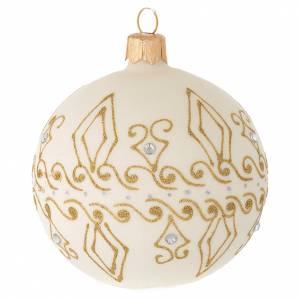 Palline di Natale: Pallina vetro beige decori oro 80 mm