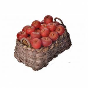 Panier pommes en cire pour crèche 10x7x8cm s2