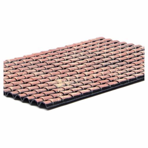 Panneau toit crèche tuiles rouges nuancées 35x25 cm s2