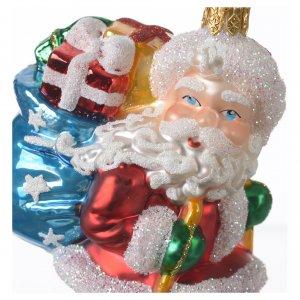 Adornos de vidrio soplado para Árbol de Navidad: Papá Noel sobre esquís adorno vidrio soplado Árbol de Navidad