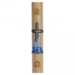 Candles, large candles: Paschal candle in beeswax with blue cross and fish 8x120cm