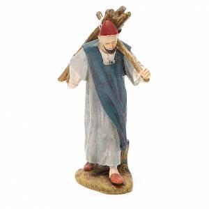 Figuras del Belén: Pastor con leña resina pintada cm 10  Línea barata Landi