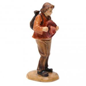 Pastor con sombrero 12 cm madera pesebre mod. Valgardena s2