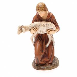 Figuras del Belén: Pastor de rodillas con cordero resina pintada cm 12 Línea M. Landi