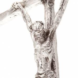 Metal Crucifixes: Pastoral cross of John Paul II in silvery metal 12x28 cm
