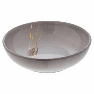 Calici Pissidi Patene ceramica: Patena ceramica diam 16 cm perla e oro