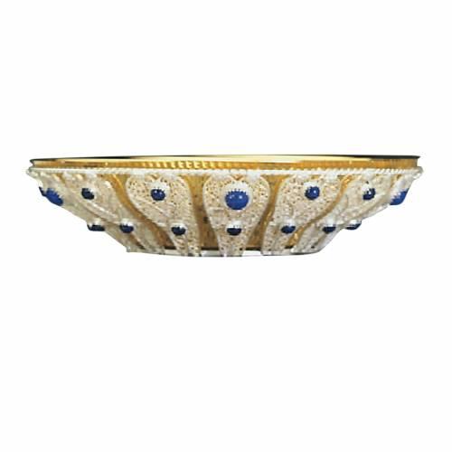 Patena ottone filigrana argento 1000 e pietre vetro blu s1