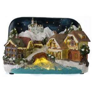 Villages de Noël miniatures: Paysage hivernal château et fleuve 30x20x20 cm