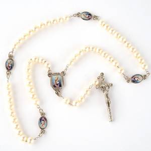 Imitation pearl rosaries: Pearled rosary with images (14 diam)