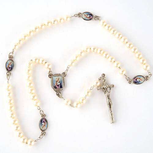 Pearled rosary with images (14 diam) s3
