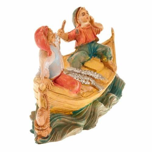 Pêcheurs  sur bateau avec poissons, 8 cm, article pour cr s2
