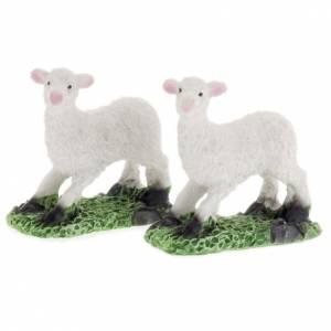 Pecore in resina presepe fai da te set 2 pz. 10 cm s1