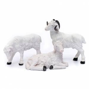Animali presepe: Pecore per pastore 20 cm resina (set 3 pz.)