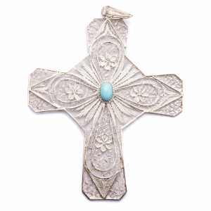 Bishop's items: Pectoral Cross in silver 800 filigree with Turchese stone