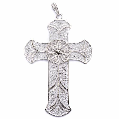 Pectoral cross in silver 800 with decorated filigree s1