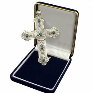 Pectoral cross in sterling silver, green synthetic stones s1