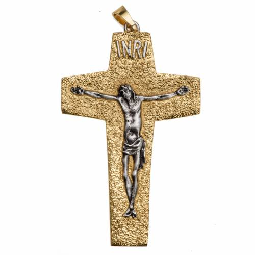 Pectoral cross in two tone brass s1