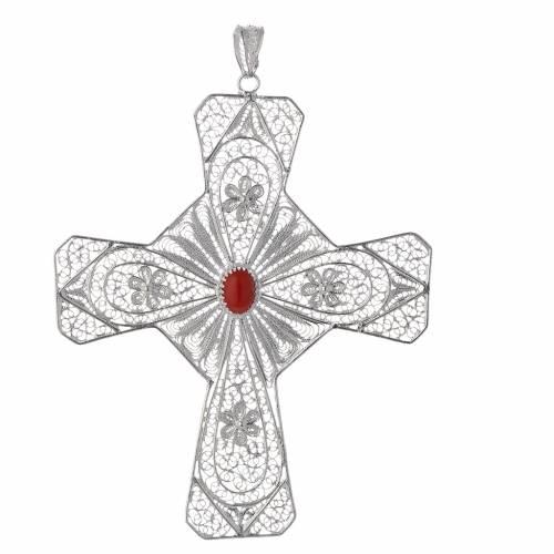 Pectoral cross silver 800 filigree, coral carnelian stone s1