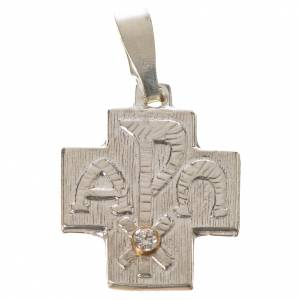 Pendant cross in silver, Alpha Omega with zircon s1
