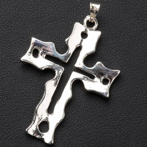 Pendant cross in silver, perforated s3